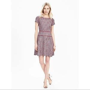 NWT Banana Republic Tweed Fit-and-flare Dress Pink